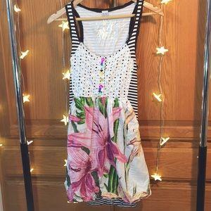 Desigual B&W Striped Floral Dress With Pockets